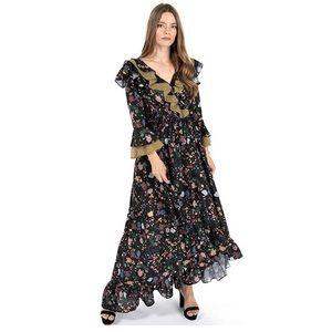 TOV Floral Houndstooth Ruffle High/Low Hem Dress